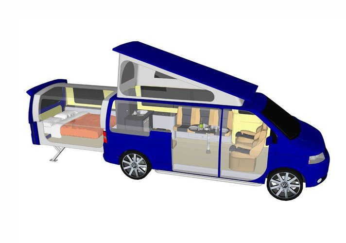vw transporter t5 doubleback spos b na wakacje wideo. Black Bedroom Furniture Sets. Home Design Ideas